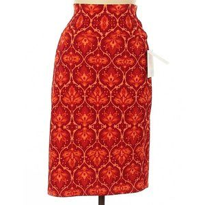 LuLaRoe NWT Medium Cassie Skirt Red Orange Floral